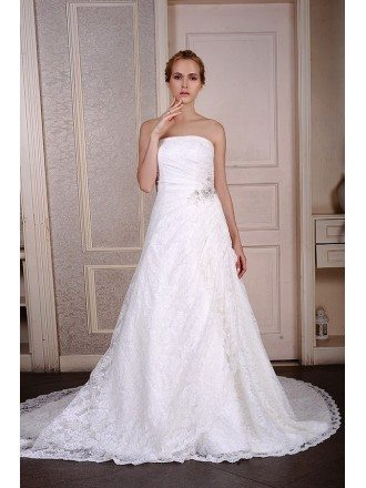 Ball-Gown Strapless Court Train Satin Tulle Wedding Dress With Appliquer Lace