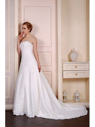 Ball-Gown Strapless chapel Train Lace Wedding Dress With Beading Pleated