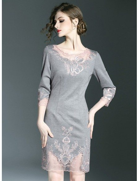 Navy Blue Fitted High End Cocktail Party Dress For Wedding Guest With Embroidery Zl8078 Gemgrace Com