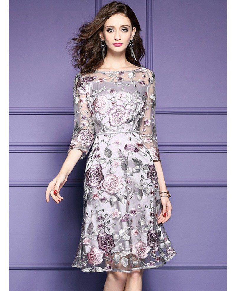 Grey Embroidery Knee Length Floral Party Dress Wedding Guests Zl8094 Gemgrace Com