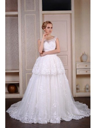 Ball-Gown Scoop Neck Cathedral Train Tulle Wedding Dress With Appliquer Lace
