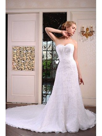 A-Line Sweetheart Cathedral Train Lace Wedding Dress With Beading