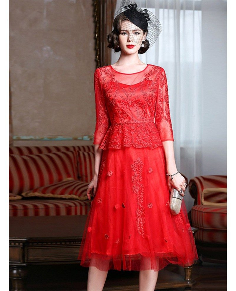 Knee Length Red Lace A Line Party Dress For Wedding Guests Zl8109 Gemgrace Com