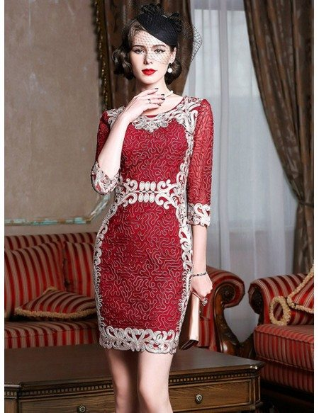 ever popular new arrival hot-selling authentic Vintage Burgundy Embroidery Cocktail Party Dress For Weddings Formal  #ZL8115 - GemGrace.com