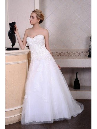 A-Line Sweetheart Court Train Tulle Wedding Dress With Beading Appliquer Lace