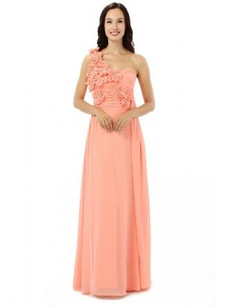 Orange Sheath Sweetheart One-shoulder Floor-length Bridesmaid Dress