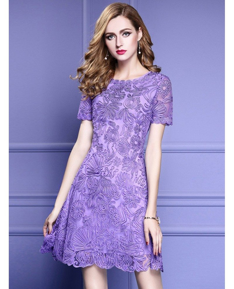 Elegant Purple Lace A Line Wedding Guest Dress With High End Embroidery Zl8123 Gemgracecom