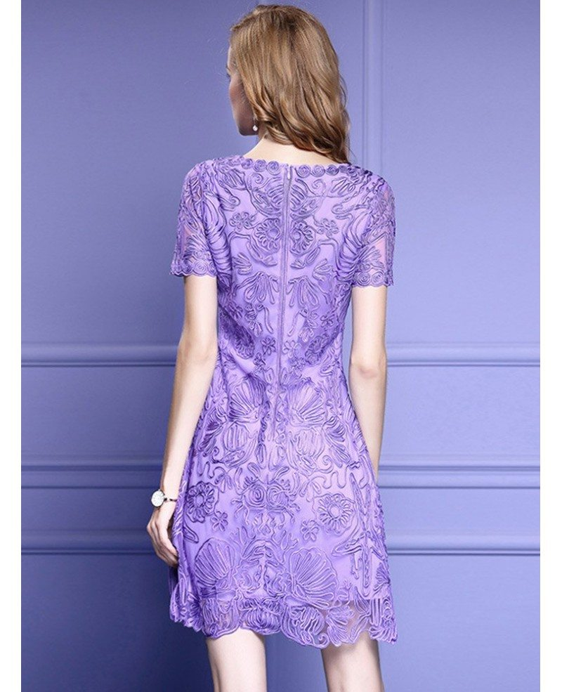 Purple Lace A Line Wedding Guest Dress