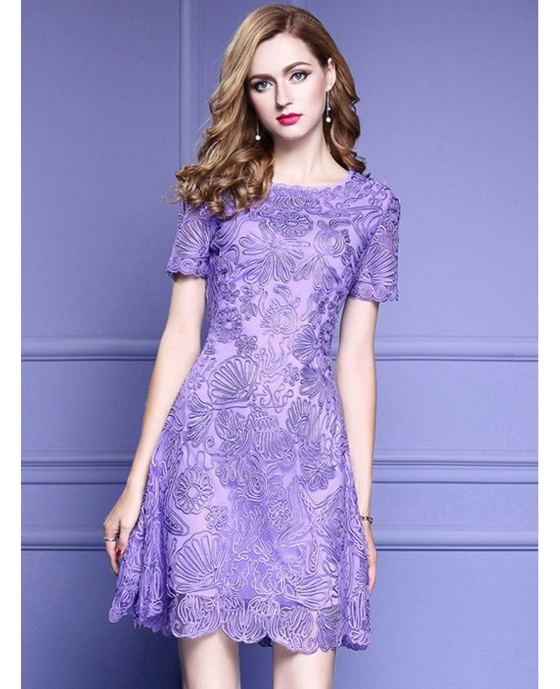Elegant Purple Lace A Line Wedding Guest Dress With High-end
