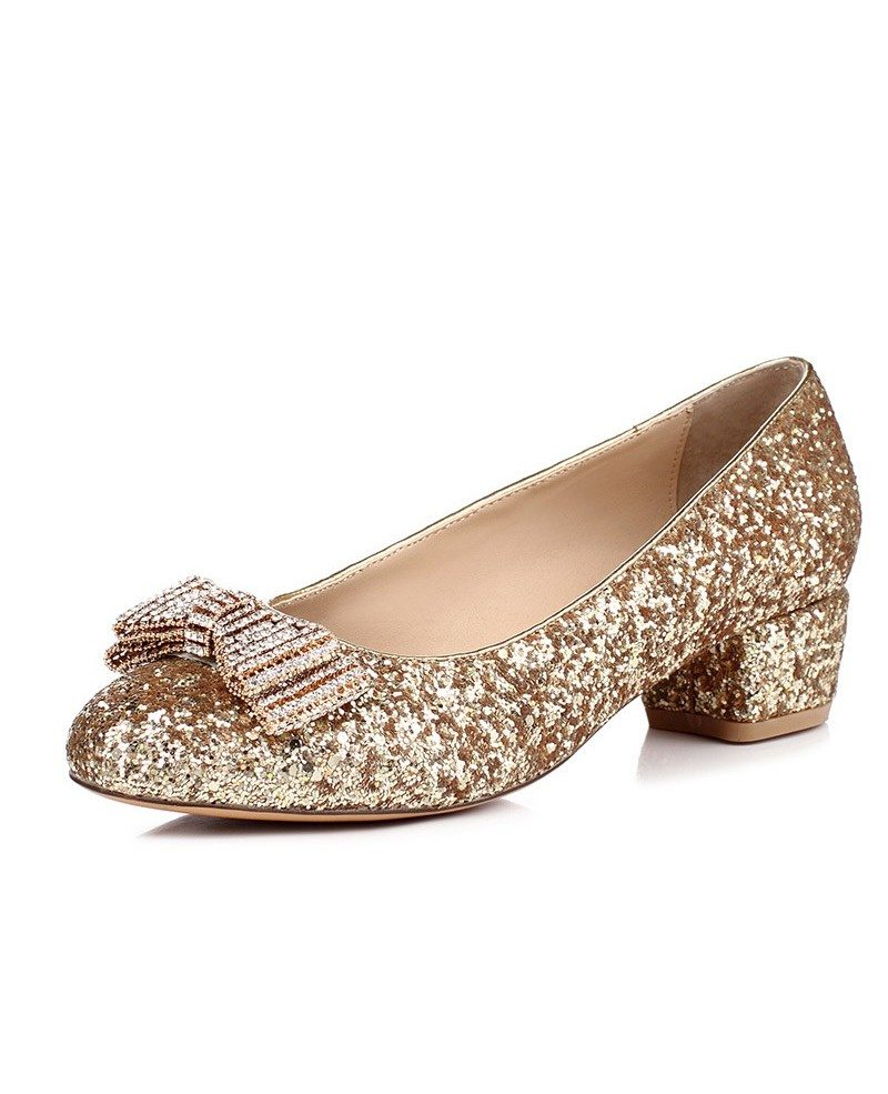 Comfortable Low Heel Flat Wedding Shoes With Sparkly Bow Msl 7838 Gemgrace Com