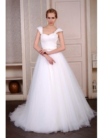 Ball-Gown Sweetheart chapel Train Organza Wedding Dress With Ruffles Pleated