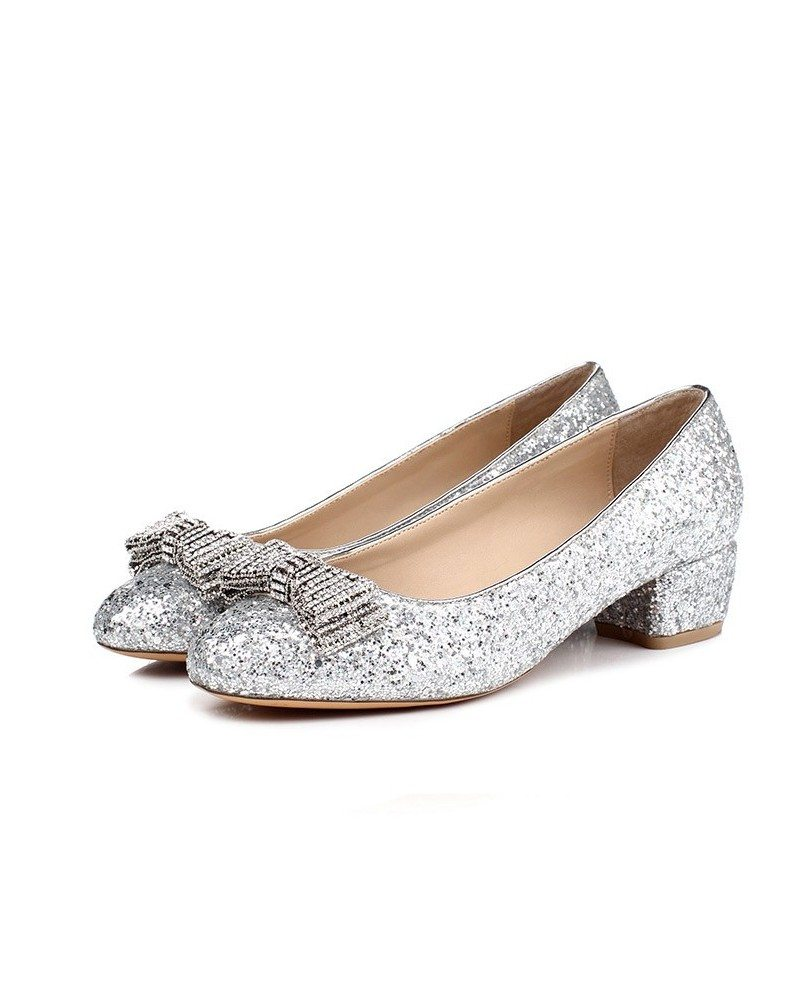 silver sparkly low heel shoes