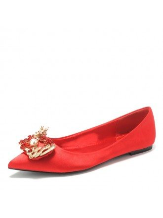 Simple Red Color Wedding Flat Shoes For Brides