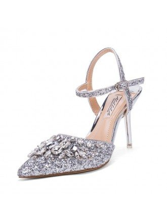 Silver Strappy Sandals Wedding Shoes With Sparkly Crystals