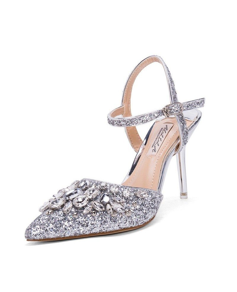 Silver Strappy Sandals Wedding Shoes