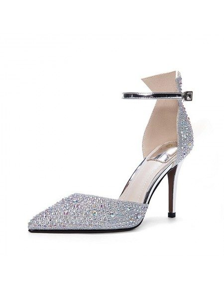 Sparkly Silver Strappy Prom Shoes For 2018 Girls Ala 6830 Gemgrace Com