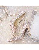 Simple Sparkly Silver Wedding Shoes High Heels For Brides 2018