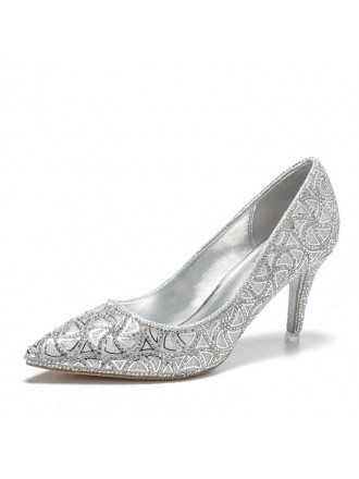 Unique Gold Gliterring Wedding Shoes With Sheepskin Insole