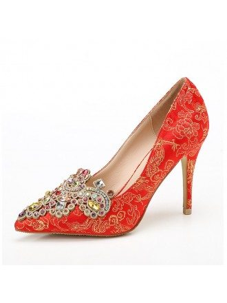 Printed Satin Bridal Shoes With Color Crystal Toe