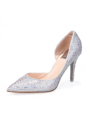 Cinderella Silver Sparkly Wedding Shoes With Ribbon