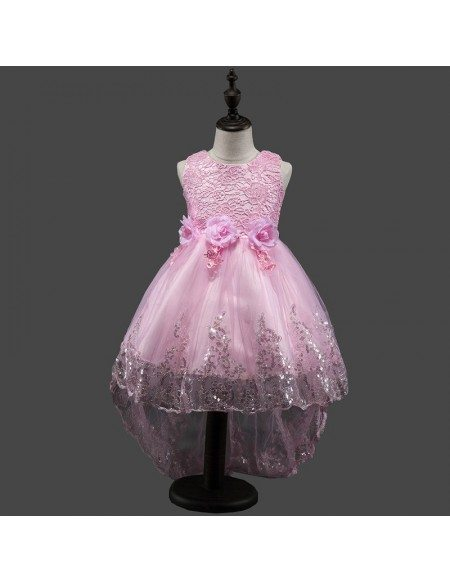 High Low Purple Cheap Flower Girl Dress With Sequin Trim