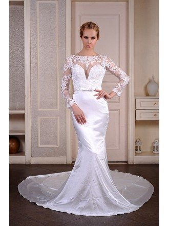 Mermaid Scoop Neck Cathedral Train Satin Wedding Dress With Appliquer Lace