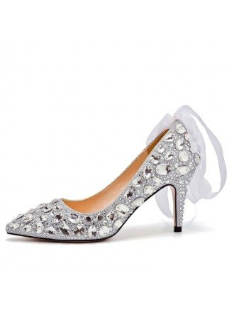 Beautiful Sparkly Crystal Wedding Shoes Silver With Ribbon