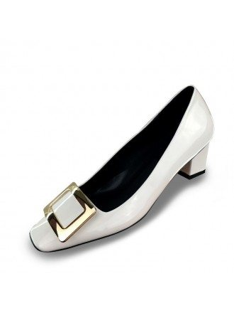 Simple Patent Leather Black Bridal Shoes With Block Kitten Heels