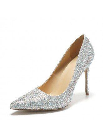 Pointed Toe Silver Bling Prom Shoes High Heels For Girls 2018