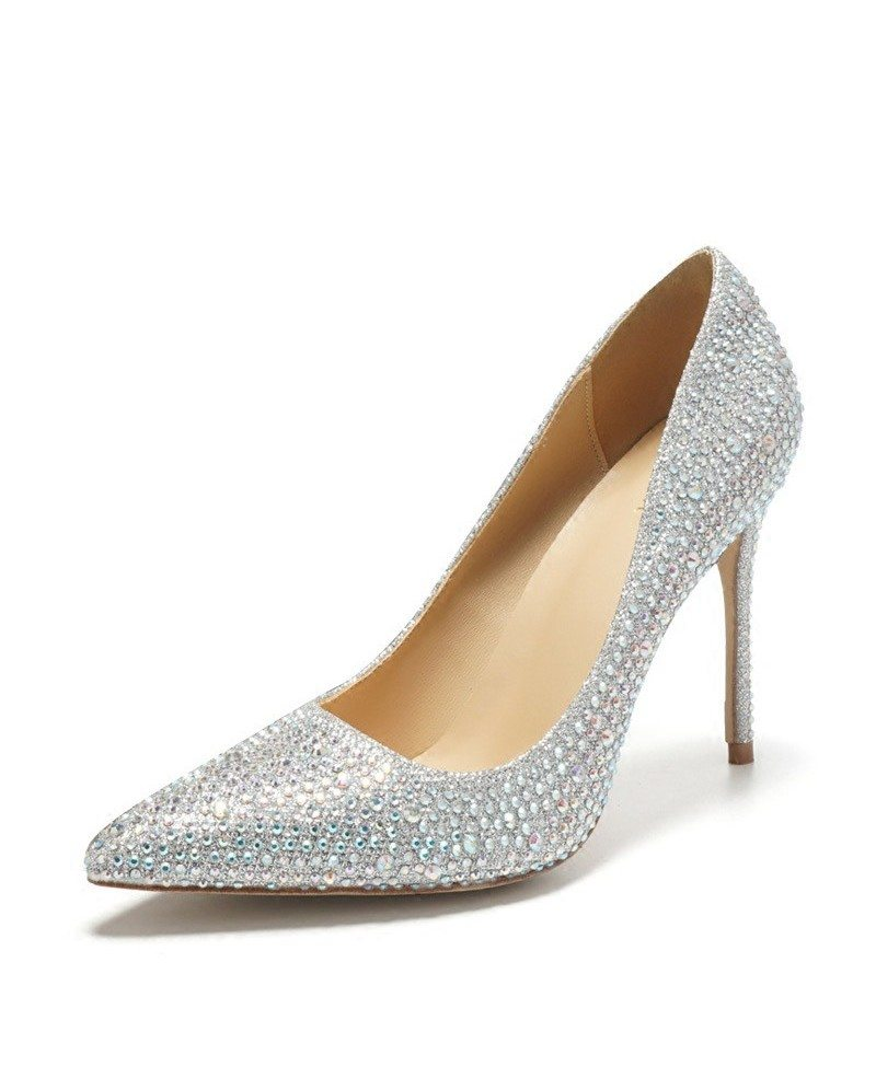 Pointed Toe Silver Bling Prom Shoes High Heels For Girls 2018 Ala 6851 Gemgrace Com