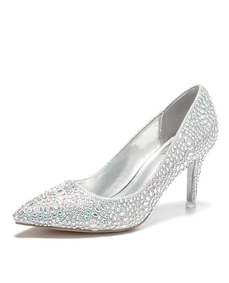 Simple Glitter Silver Prom Shoes With Pointed Toe 2018 Ala 6860 Gemgrace Com