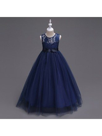 Princess A-line Navy Blue Cheap Flower Girl Dress With Lace Bodice