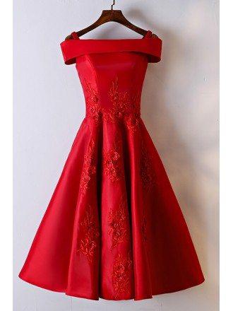 Gorgeous Red Off Shoulder A Line Lace Party Dress