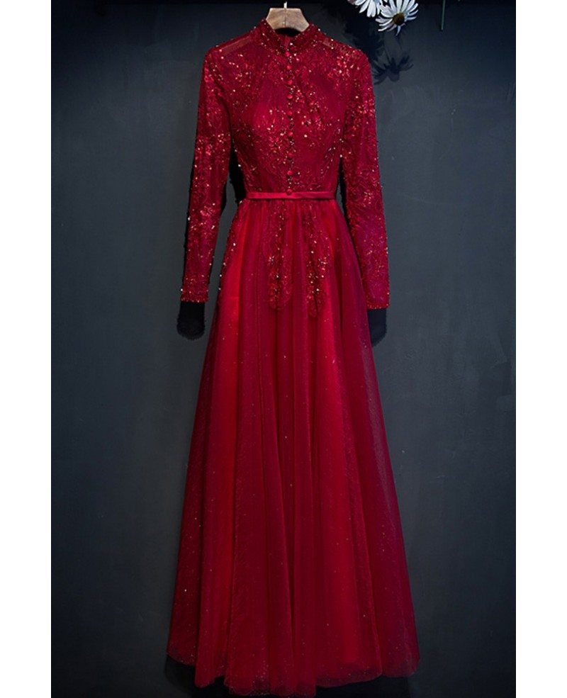 Unique Burgundy Long Lace Sleeve Prom Dress High Neck With Buttons Myx18003 Gemgracecom