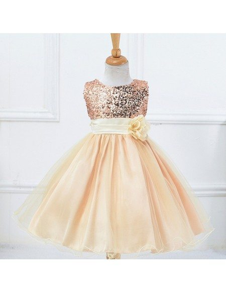 Bling-bling Princess Champagne Cheap Flower Girl Dress With Sequins