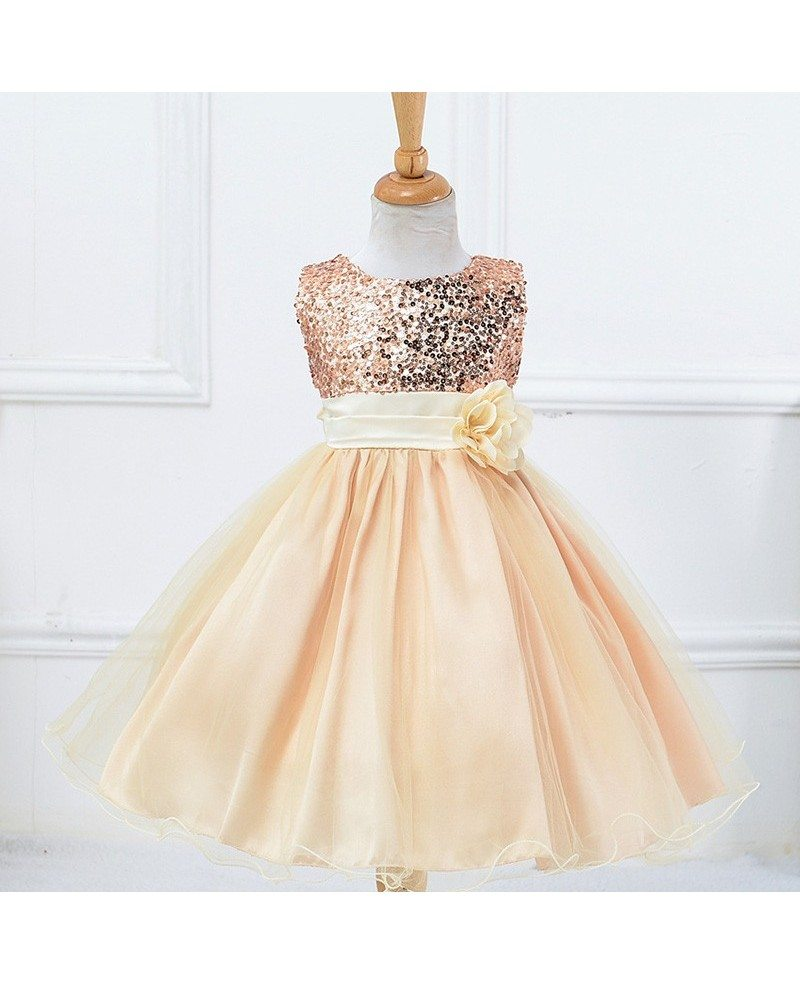 31 9 Bling Bling Princess Champagne Cheap Flower Girl Dress With Sequins Qx L067l Gemgrace Com