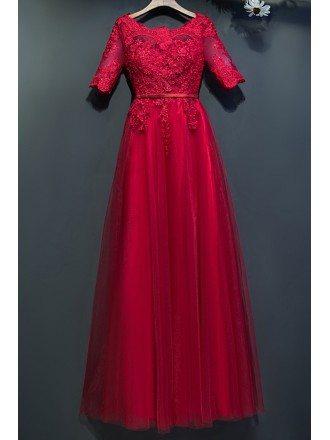 Elegant Short Lace Sleeve Long Formal Party Dress A Line