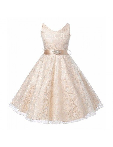 Princess Cream All Lace Cheap Flower Girl Dress With Sash