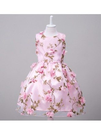 Vintage Floral Pink Cheap Flower Girl Dress Country for Infant