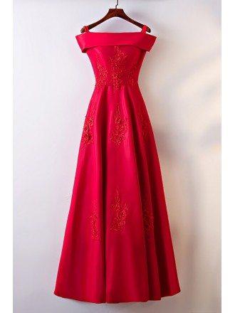 Gorgeous Burgundy Satin Off Shoulder Long Party Dress For Formal