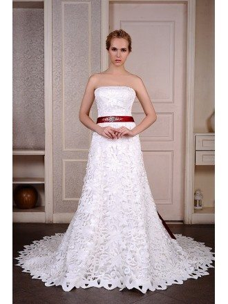 A-Line Strapless chapel Train Satin Wedding Dress With Beading Appliquer Lace Bow
