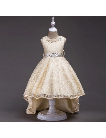 High Low Black Lace Flower Girl Dress With Beading Neck Waist