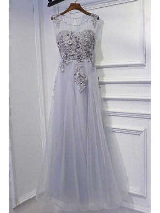 Classy Silver Long Tulle Prom Dress Lace Sleeveless