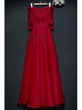 Burgundy Long Lace Formal Party Dress Off Shoulder With Sleeves