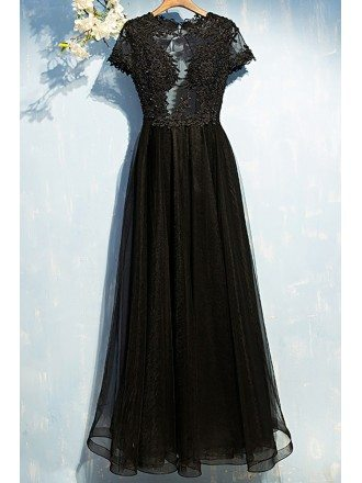 Sexy Long Black Lace Prom Dress With Sleeves Open Back