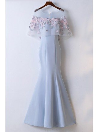 Pretty Sky Blue Fitted Mermaid Long Party Dress With Lace Flowers