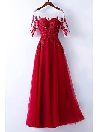 Burgundy Beaded Lace Long Party Dress With Illusion Neckline