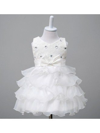 Cute White Tier Tutu Flower Girl Dress With Beaded Lace Top