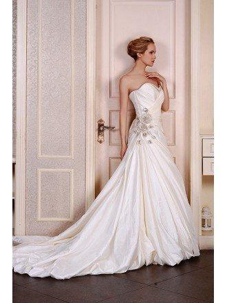 Ball-Gown Sweetheart Chapel Train Taffeta Wedding Dress With Beading Ruffles