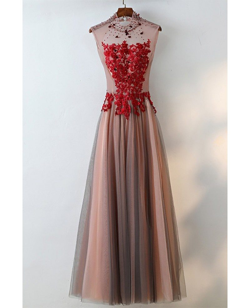 Red And White Lace Prom Dress: Unique High Neck Black Tulle And Red Lace Prom Dress